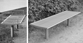 Benches with steel seat base